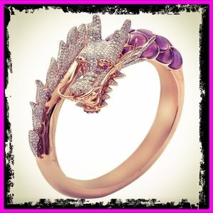 14k Rose Gold Chinese Dragon White Sapphire Ring
